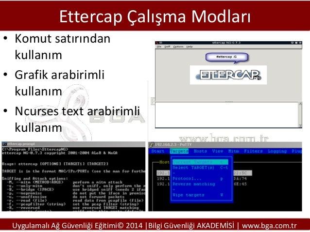 Ettercap Çalışma Modları • Komut satırından kullanım • Grafik arabirimli kullanım • Ncurses text arabirimli kullanım  Uygu...