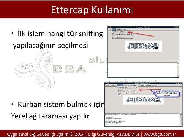 Ettercap Kullanımı • İlk işlem hangi tür sniffing yapılacağının seçilmesi  • Kurban sistem bulmak için Yerel ağ taraması y...