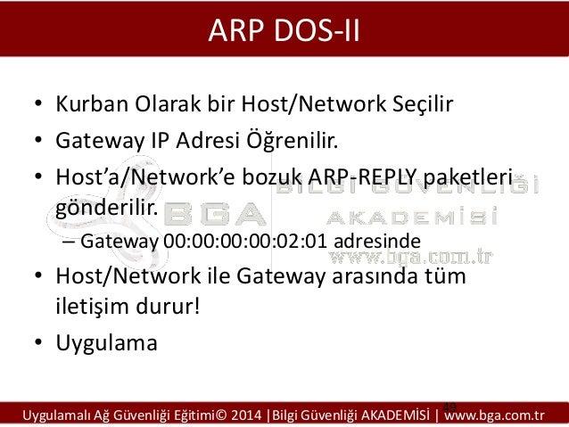 ARP DOS-II • Kurban Olarak bir Host/Network Seçilir • Gateway IP Adresi Öğrenilir. • Host'a/Network'e bozuk ARP-REPLY pake...