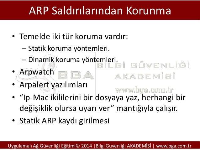 ARP Saldırılarından Korunma • Temelde iki tür koruma vardır: – Statik koruma yöntemleri. – Dinamik koruma yöntemleri.  • A...