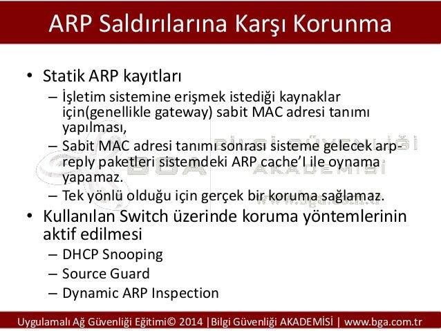 ARP Saldırılarına Karşı Korunma • Statik ARP kayıtları – İşletim sistemine erişmek istediği kaynaklar için(genellikle gate...