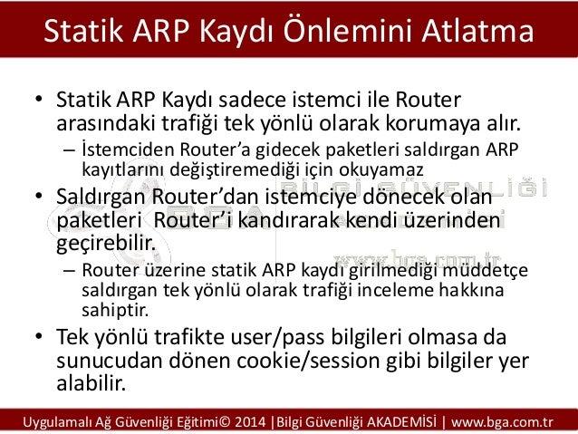 Statik ARP Kaydı Önlemini Atlatma • Statik ARP Kaydı sadece istemci ile Router arasındaki trafiği tek yönlü olarak korumay...