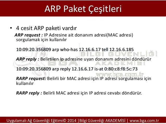 ARP Paket Çeşitleri • 4 cesit ARP paketi vardır ARP request : IP Adresine ait donanım adresi(MAC adresi) sorgulamak için k...
