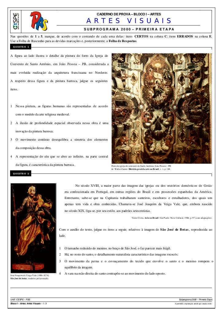 CADERNO DE PROVA – BLOCO I – ARTES                                                              ARTES VISUAIS             ...