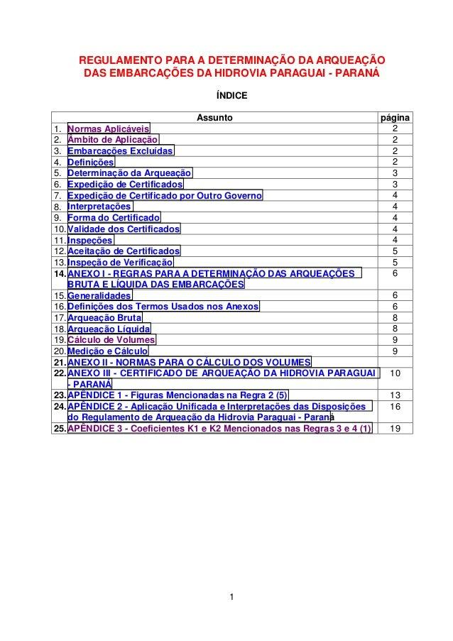 1 REGULAMENTO PARA A DETERMINAÇÃO DA ARQUEAÇÃO DAS EMBARCAÇÕES DA HIDROVIA PARAGUAI - PARANÁ ÍNDICE Assunto página 1. Norm...