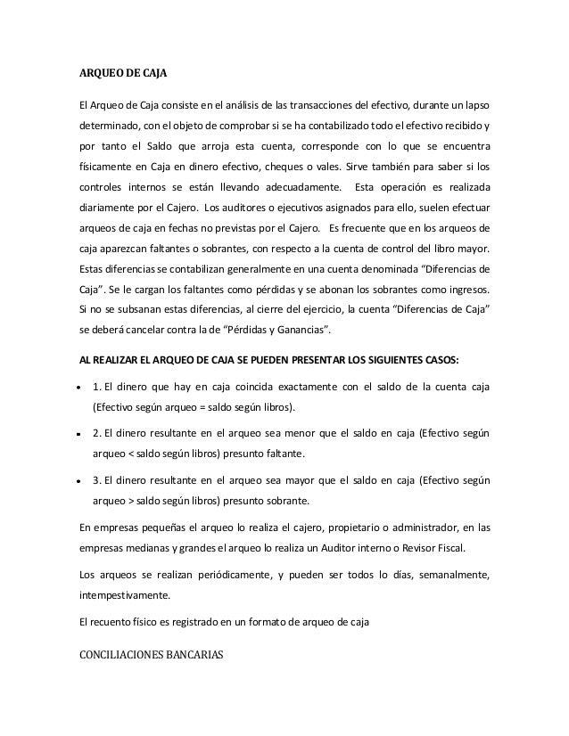 Arqueo De Caja Caso Practico Pdf Download