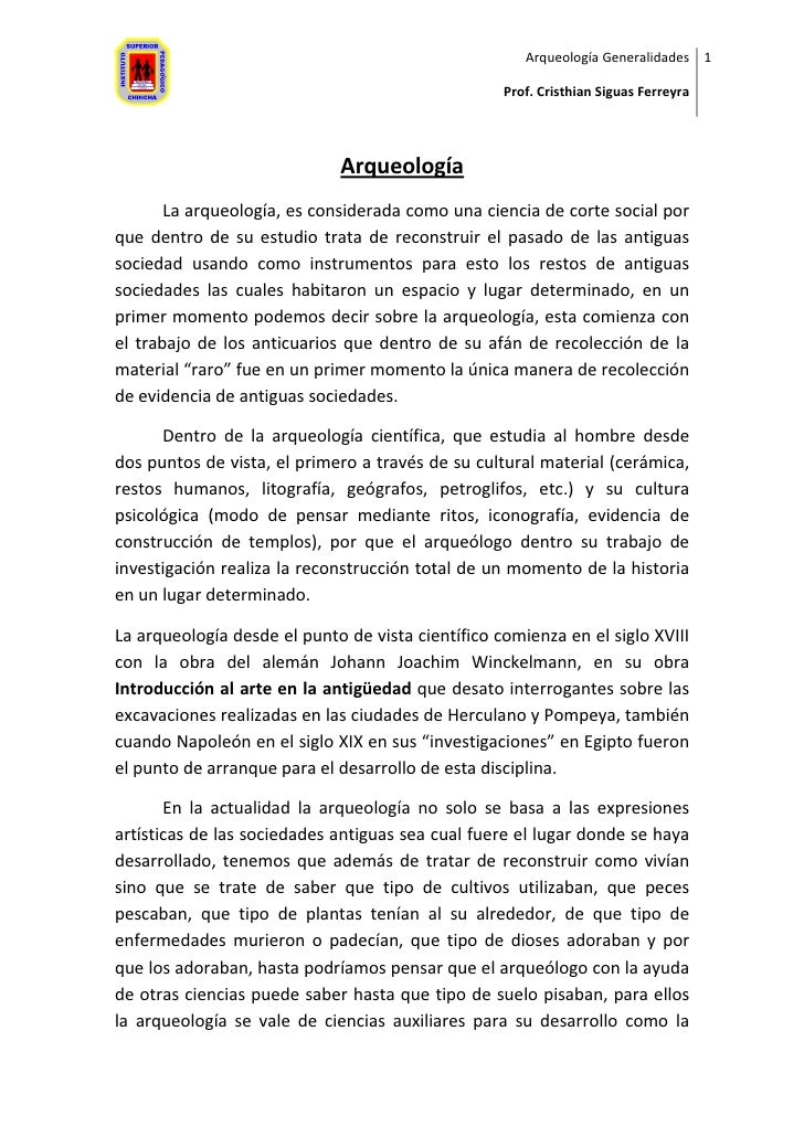 Arqueología Generalidades 1                                                     Prof. Cristhian Siguas Ferreyra           ...
