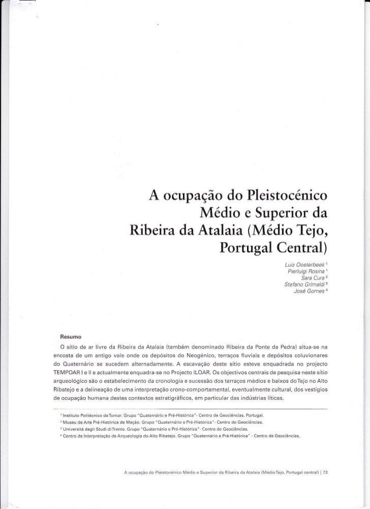 A ocupação do Pleistocénico                                            Médio e Superior da                                ...