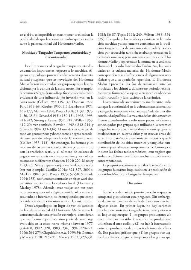 Bélisle EL HORIZONTE MEDIO EN EL VALLE DEL SANTA 31 1966 «Incipient Urbanization and Secularization in Tiahuanacoid Peru»....