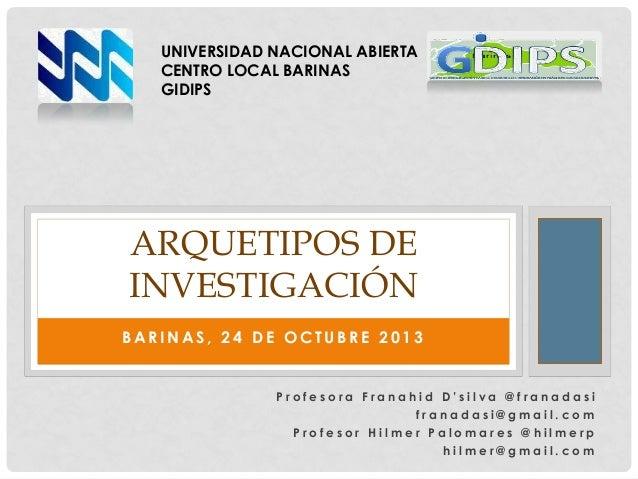UNIVERSIDAD NACIONAL ABIERTA CENTRO LOCAL BARINAS GIDIPS  ARQUETIPOS DE INVESTIGACIÓN BARINAS, 24 DE OCTUBRE 2013  Profeso...