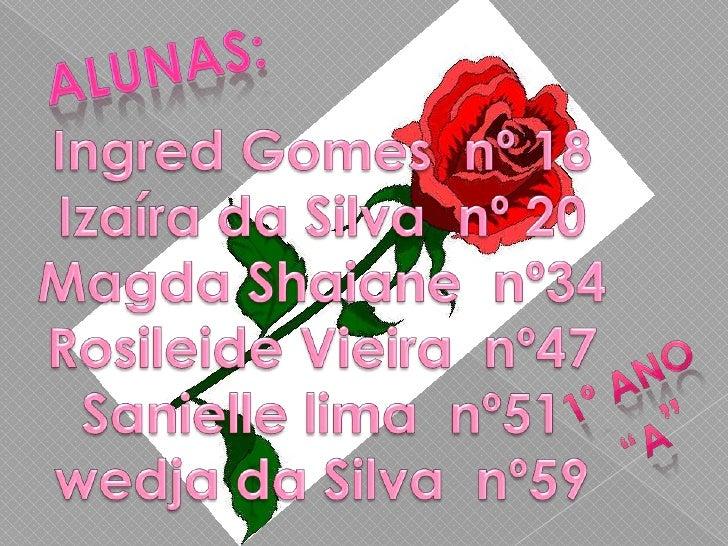 Alunas:<br />Ingred Gomes  nº 18<br />Izaíra da Silva  nº 20Magda Shaiane  nº34Rosileide Vieira  nº47Sanielle lima  nº51we...
