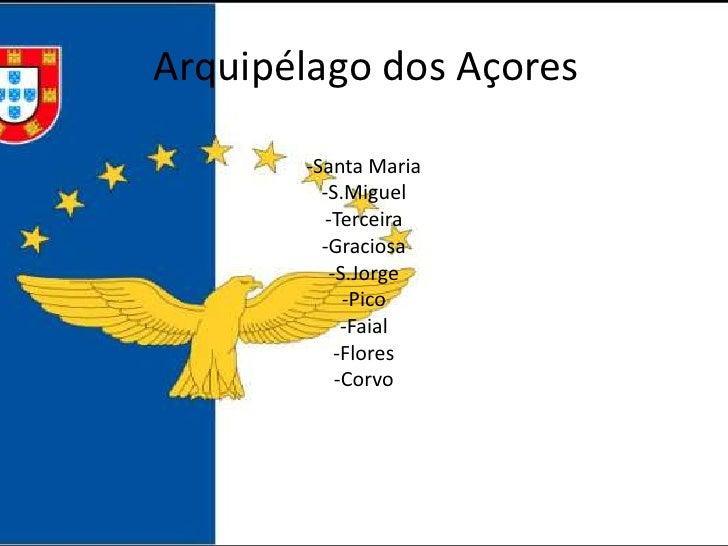 Arquipélago dos Açores         -Santa Maria          -S.Miguel           -Terceira          -Graciosa            -S.Jorge ...