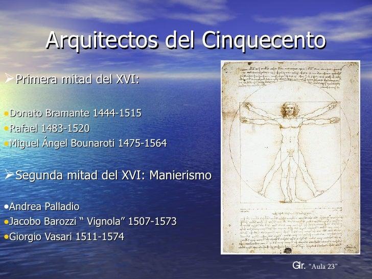 Arquitectos del Cinquecento <ul><li>Primera mitad del XVI: </li></ul><ul><li>Donato Bramante 1444-1515 </li></ul><ul><li>R...