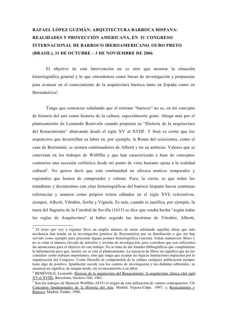 RAFAEL LÓPEZ GUZMÁN: ARQUITECTURA BARROCA HISPANA:REALIDADES Y PROYECCIÓN AMERICANA, EN IV CONGRESOINTERNACIONAL DE BARROC...