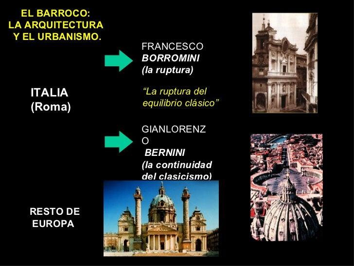 EL BARROCO:  LA ARQUITECTURA  Y EL URBANISMO. ITALIA (Roma) FRANCESCO BORROMINI  (la ruptura) GIANLORENZO BERNINI (la cont...