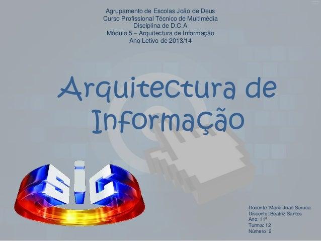 Agrupamento de Escolas João de Deus Curso Profissional Técnico de Multimédia Disciplina de D.C.A Módulo 5 – Arquitectura d...