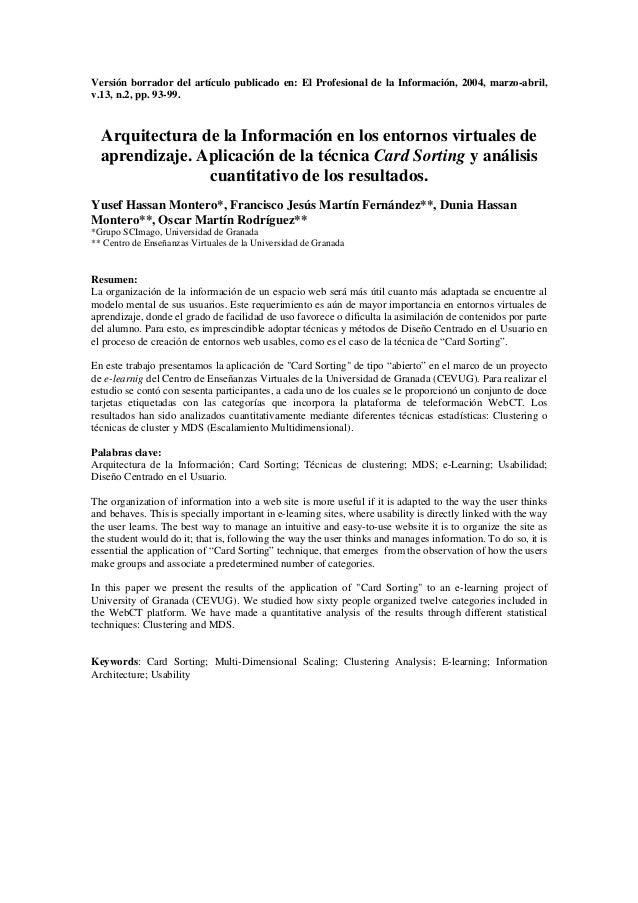 Versión borrador del artículo publicado en: El Profesional de la Información, 2004, marzo-abril,v.13, n.2, pp. 93-99.  Arq...