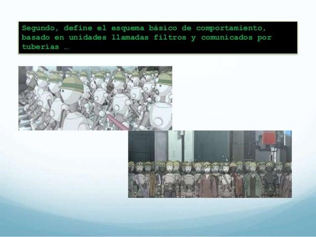 Patrón de tuberías y filtros  (pipe & filters)  El sistema requiere de un  procesamiento orientado a  flujo de datos.  Cad...