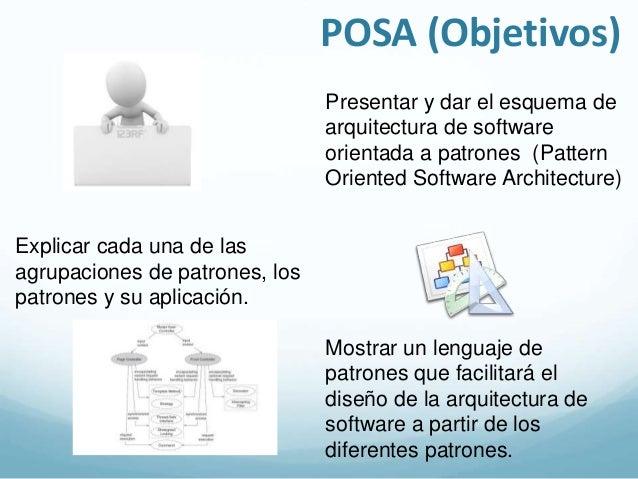 Estructura de POSA  POSA es un conjunto de  patrones para arquitectura de  software. Su enfoque es  genérico y abstracto. ...