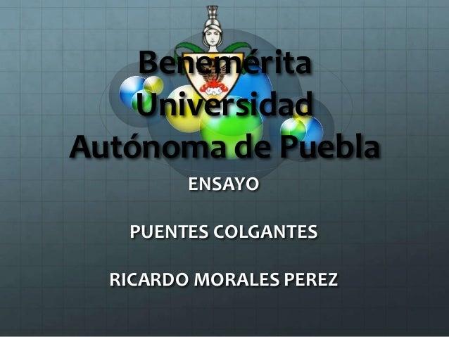 Benemérita Universidad Autónoma de Puebla ENSAYO PUENTES COLGANTES RICARDO MORALES PEREZ