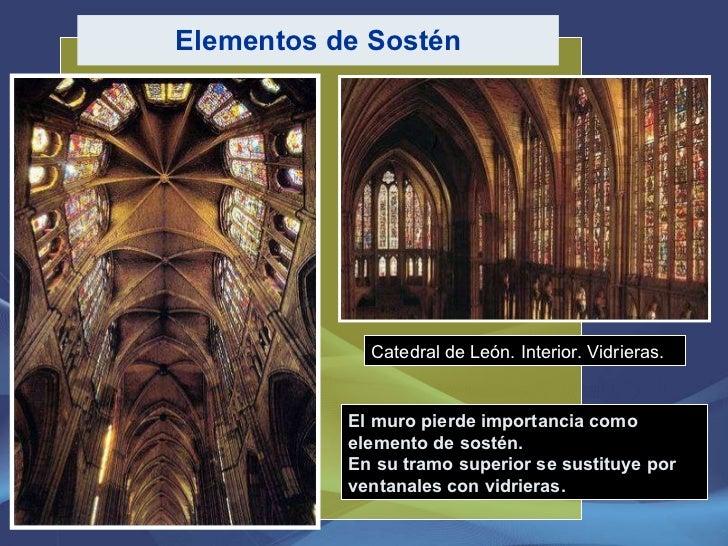 Elementos de Sostén El muro pierde importancia como elemento de sostén.  En su tramo superior se sustituye por ventanales ...