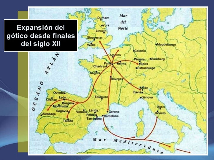 Expansión del gótico desde finales del siglo XII