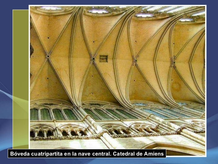 Bóveda cuatripartita en la nave central. Catedral de Amiens