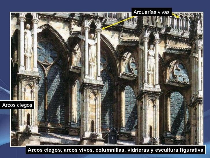 Arcos ciegos, arcos vivos, columnillas, vidrieras y escultura figurativa Arquerías vivas Arcos ciegos