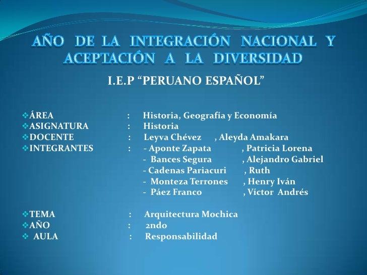 """I.E.P """"PERUANO ESPAÑOL""""ÁREA            :    Historia, Geografía y EconomíaASIGNATURA      :    HistoriaDOCENTE         ..."""