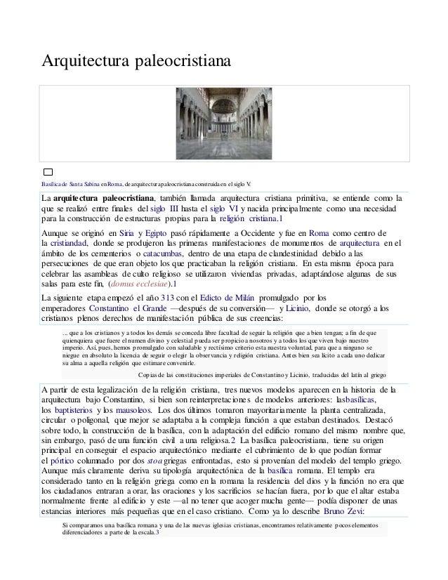 Arquitectura paleocristiana Basílica de Santa Sabina enRoma, de arquitecturapaleocristianaconstruida en el siglo V. La arq...