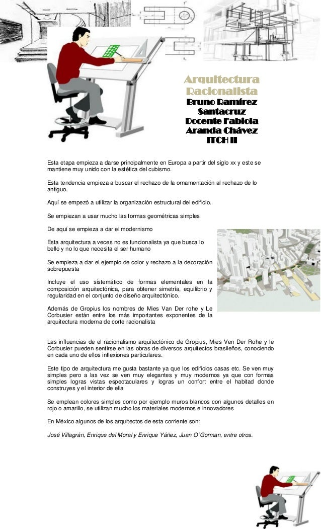 ArquitecturaRacionalistaBruno RamírezSantacruzDocente FabiolaAranda ChávezITCH IIEsta etapa empieza a darse principalmente...