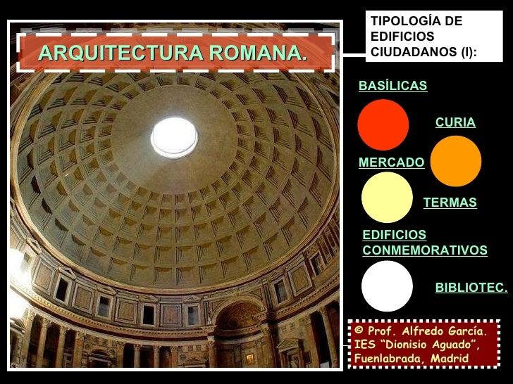 """ARQUITECTURA ROMANA.  © Prof. Alfredo García. IES """"Dionisio Aguado"""", Fuenlabrada, Madrid TIPOLOGÍA DE EDIFICIOS CIUDADANOS..."""