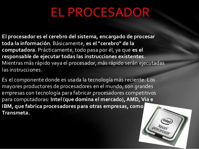 """El procesador es el cerebro del sistema, encargado de procesar toda la información. Básicamente, es el """"cerebro"""" de la com..."""