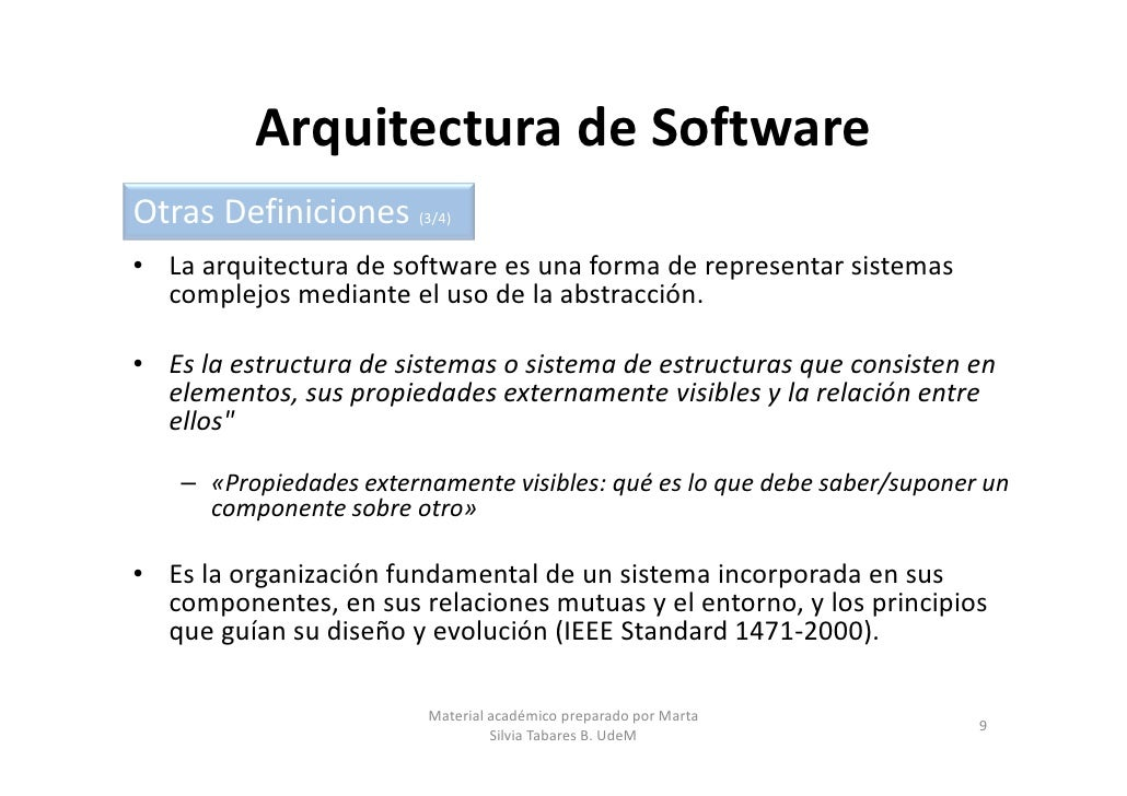 Arquitecturas de software parte 1 for Especializacion arquitectura de software