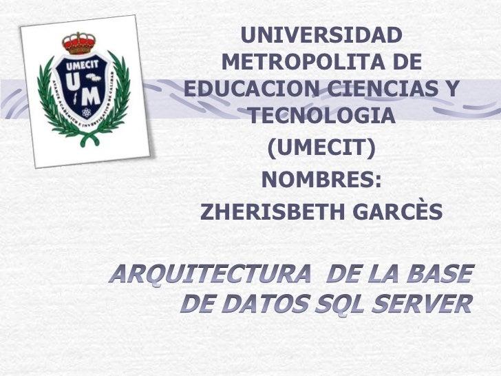 UNIVERSIDAD  METROPOLITA DEEDUCACION CIENCIAS Y    TECNOLOGIA      (UMECIT)     NOMBRES: ZHERISBETH GARCÈS