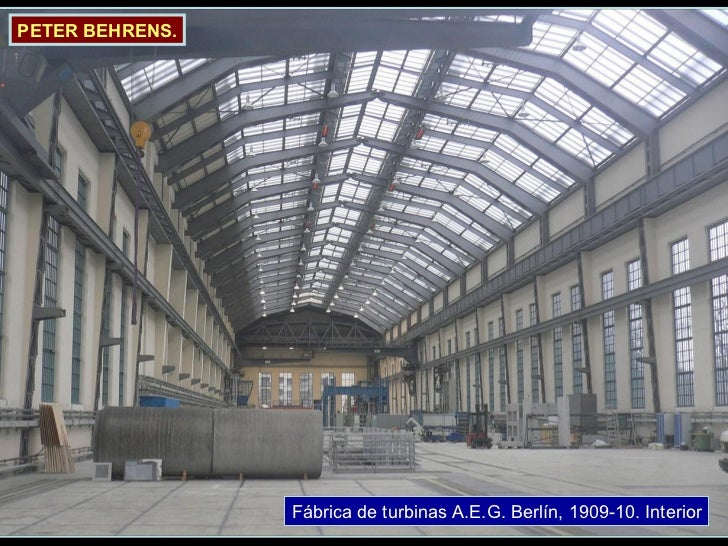 Fábrica de turbinas A.E.G. Berlín, 1909-10. Interior PETER BEHRENS.