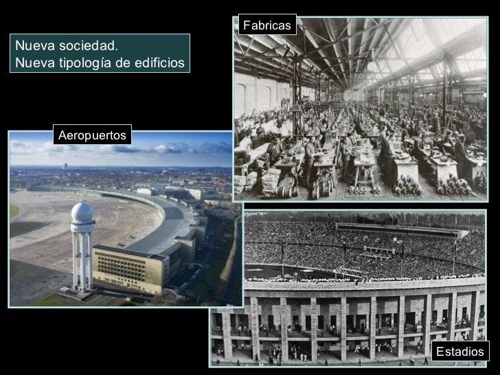 Nueva sociedad. Nueva tipología de edificios Fabricas Aeropuertos Estadios