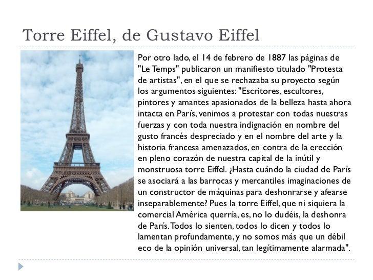 """Torre Eiffel, de Gustavo Eiffel                Por otro lado, el 14 de febrero de 1887 las páginas de                """"Le T..."""