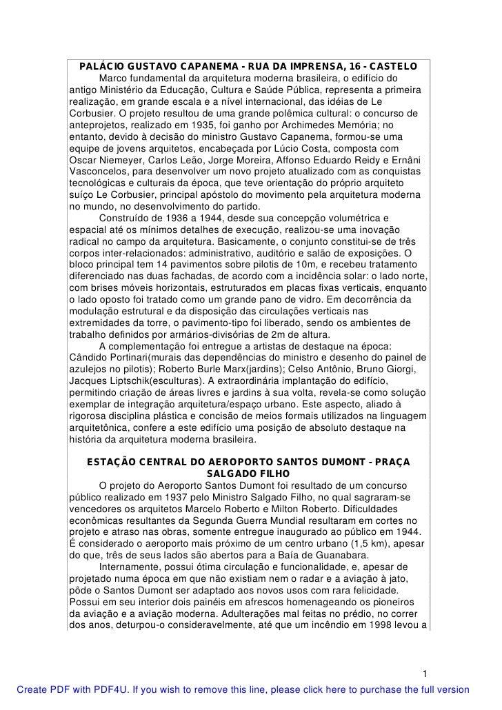 PALÁCIO GUSTAVO CAPANEMA - RUA DA IMPRENSA, 16 - CASTELO                  Marco fundamental da arquitetura moderna brasile...