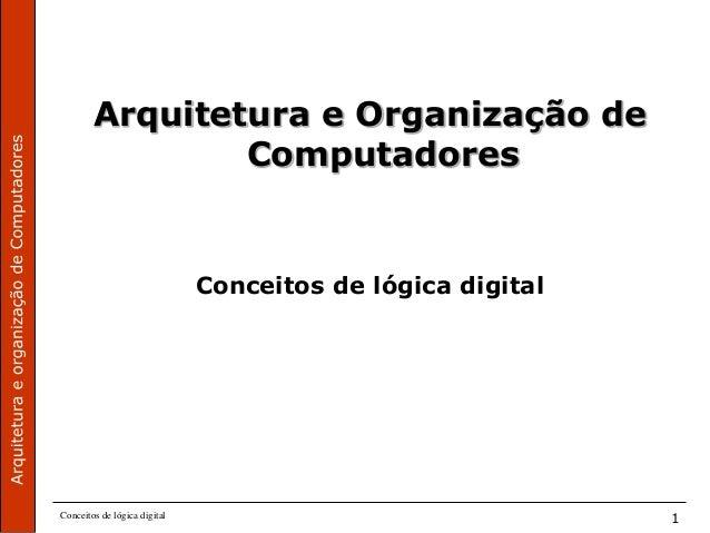 Conceitos de lógica digital 1 Arquitetura e Organização de Computadores Conceitos de lógica digital