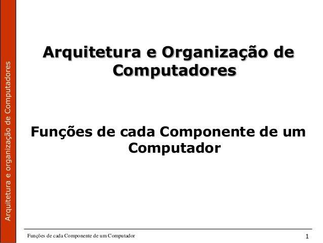 Funções de cada Componente de um Computador 1 Arquitetura e Organização de Computadores Funções de cada Componente de um C...