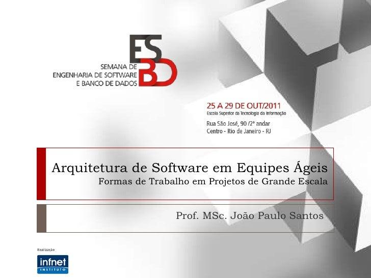 Arquitetura de Software em Equipes Ágeis      Formas de Trabalho em Projetos de Grande Escala                     Prof. MS...