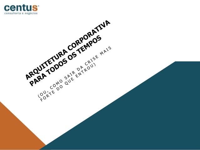 05/05/20202 SOBRE A CENTUS CONSULTORIA Gerenciando Mudanças, Evoluindo Organizações Arquitetura Corporativa Gerenciamento ...