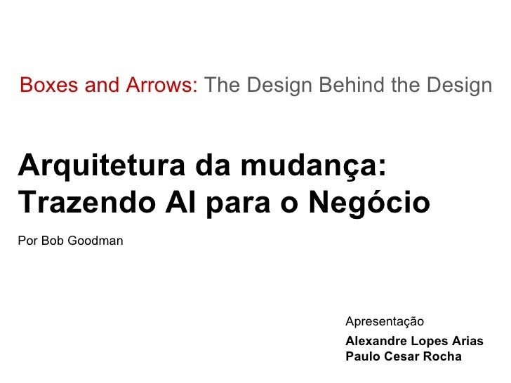 Boxes and Arrows:  The Design Behind the Design Arquitetura da mudança: Trazendo AI para o Negócio Por Bob Goodman Apresen...