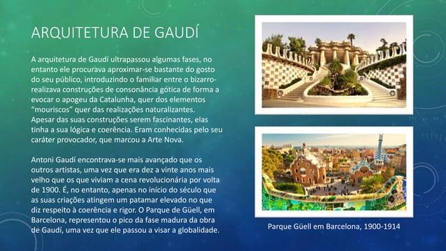 NOVAS TÉCNICAS DA ARQUITETURA DE GAUDÍ O arco parabólico catenário foi uma das suas técnicas mais importantes e revolucion...