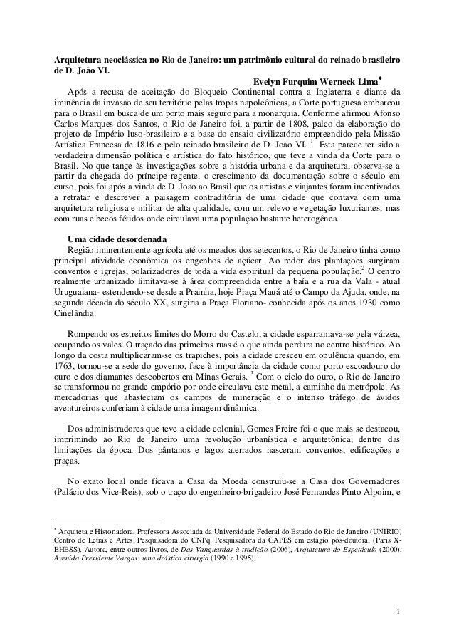 1 Arquitetura neoclássica no Rio de Janeiro: um patrimônio cultural do reinado brasileiro de D. João VI. Evelyn Furquim We...