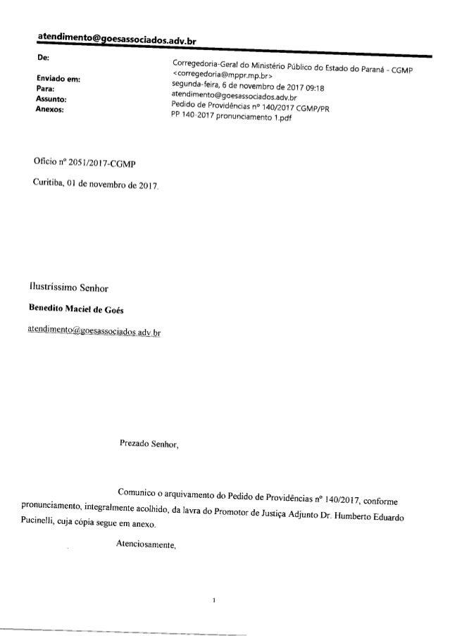 Arquivamento reclamação contra promotores