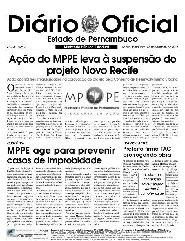 Diário Oficial                                  Estado de PernambucoAno XC      l   NO 36                                 ...