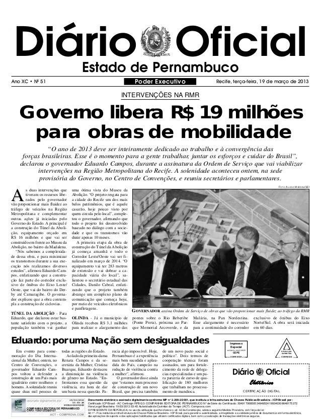 Diário Oficial                             Estado de PernambucoAno XC • N0 51                                             ...